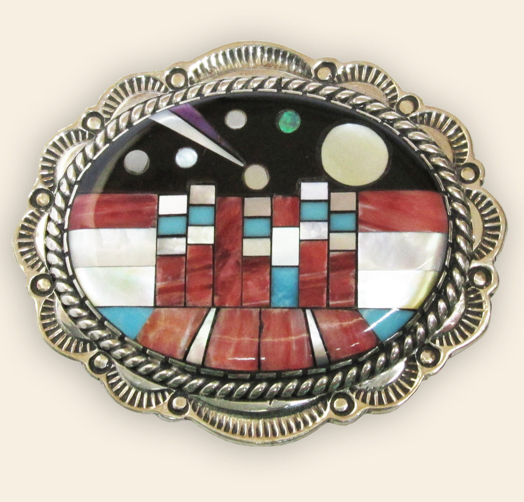 Native American Zuni Multi Stone Inlay Pendant/ Brooch
