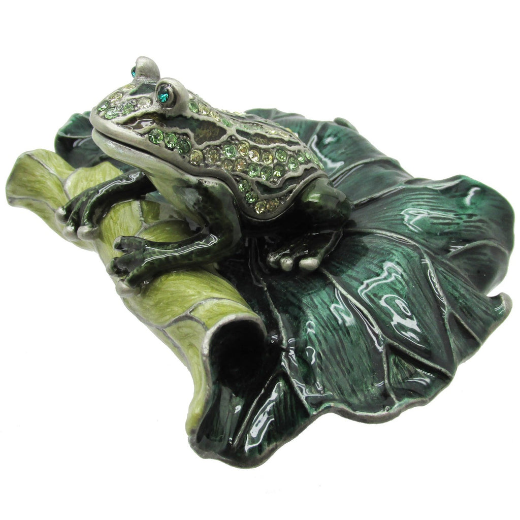 Frog on Lotus Leaf Jeweled Trinket Box with SWAROVSKI Crystals, by RUCINNI