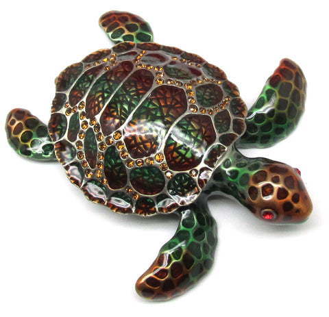 Sea Turtle Jeweled Trinket Box with SWAROVSKI Crystals, by RUCINNI