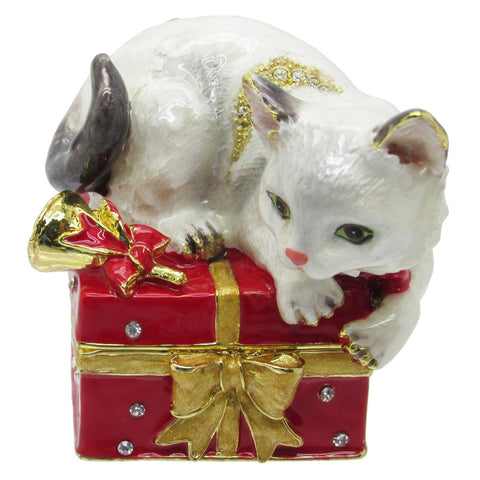 Cat Jeweled Trinket Box with SWAROVSKI Crystals, by RUCINNI, #3
