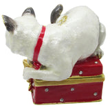 Cat Jeweled Trinket Box with SWAROVSKI Crystals, by RUCINNI