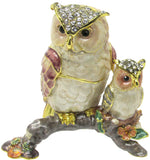 Owl & Baby Jeweled Trinket Box with SWAROVSKI Crystals, by RUCINNI
