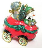 Snowmen in Car Jeweled Trinket Box with SWAROVSKI Crystals, by RUCINNI
