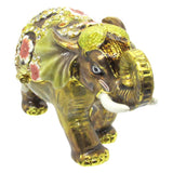 Elephant (Floral) Jeweled Trinket Box with SWAROVSKI Crystals, by RUCINNI