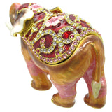 Elephant (Floral) Jeweled Trinket Box with SWAROVSKI Crystals, by RUCINNI, Pink