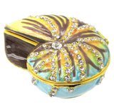 Shell Jeweled Trinket Box with SWAROVSKI Crystals, by RUCINNI, Blue