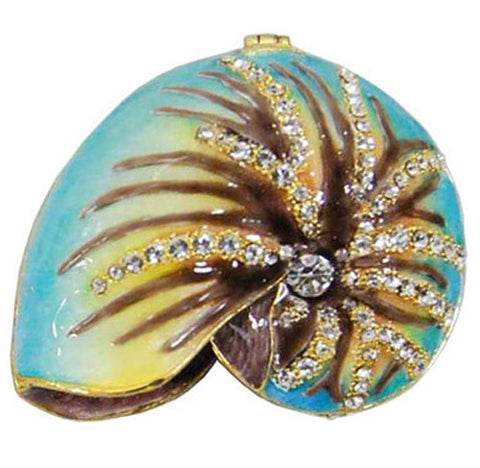 Shell Jeweled Trinket Box with SWAROVSKI Crystals, by RUCINNI
