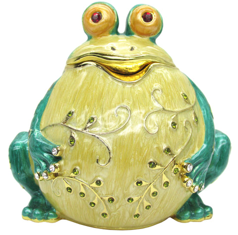 Round Frog Jeweled Trinket Box with SWAROVSKI Crystals, by RUCINNI