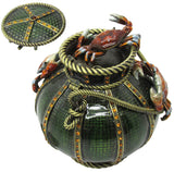 Crab Fishing Basket Jeweled Trinket Box with SWAROVSKI Crystals, by RUCINNI