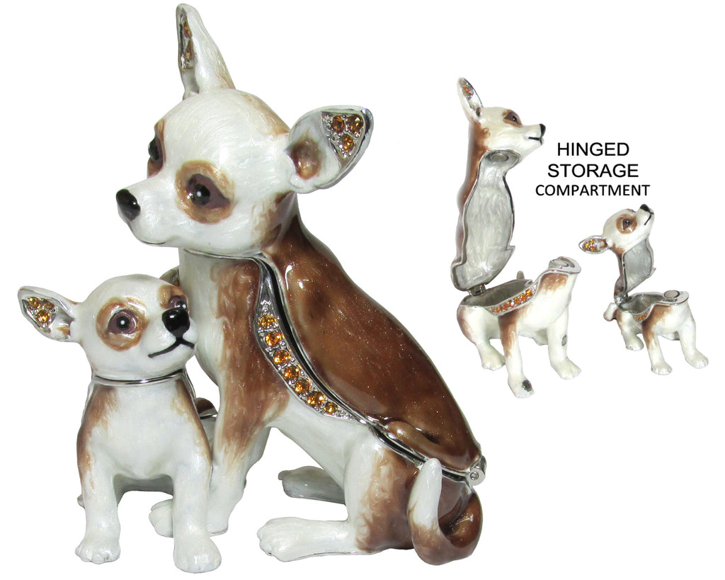 Chihuahua & Puppy Jeweled Trinket Box with SWAROVSKI Crystals, by RUCINNI