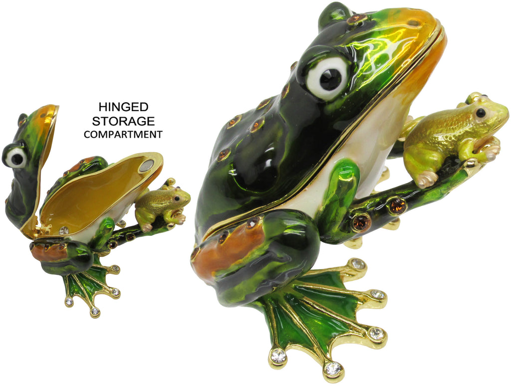 Frog & Baby Jeweled Trinket Box with SWAROVSKI Crystals, by RUCINNI