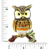 Owl on Branch Jeweled Trinket Box with SWAROVSKI Crystals, by RUCINNI