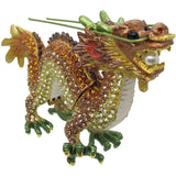 Dragon (Zodiac, Yellow) Jeweled Trinket Box with SWAROVSKI Crystals, by RUCINNI
