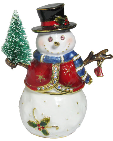 Snowman w/Tree Jeweled Trinket Box with SWAROVSKI Crystals, by RUCINNI