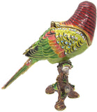 Parakeet Jeweled Trinket Box with SWAROVSKI Crystals, by RUCINNI, Red