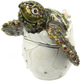 Hatching Sea Turtle Jeweled Trinket Box with SWAROVSKI Crystals, by RUCINNI