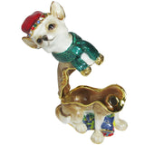 Dog (Chihuahua) Jeweled Trinket Box with SWAROVSKI Crystals, by RUCINNI