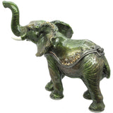 Elephant Jeweled Trinket Box with SWAROVSKI Crystals, by RUCINNI, Green