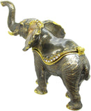 Elephant Jeweled Trinket Box with SWAROVSKI Crystals, by RUCINNI, Grey