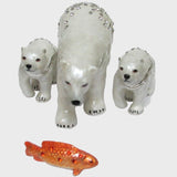 Polar Bear & Cubs w/ Fish Jeweled Trinket Box w/ SWAROVSKI Crystals, by RUCINNI
