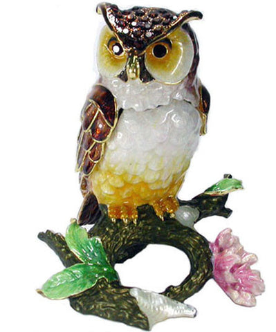 Owl on Branch (Large) Jeweled Trinket Box with SWAROVSKI Crystals, by RUCINNI
