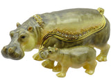 Hippo & Baby Jeweled Trinket Box with SWAROVSKI Crystals, by RUCINNI