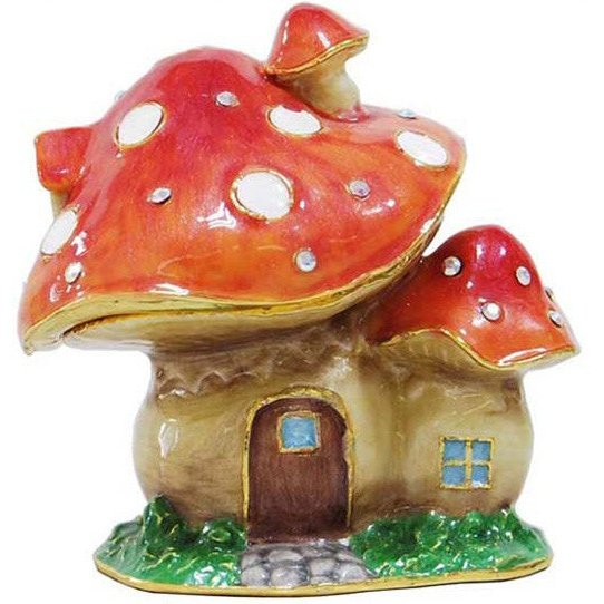 Cottage (Mushroom) Jeweled Trinket Box with SWAROVSKI Crystals, by RUCINNI