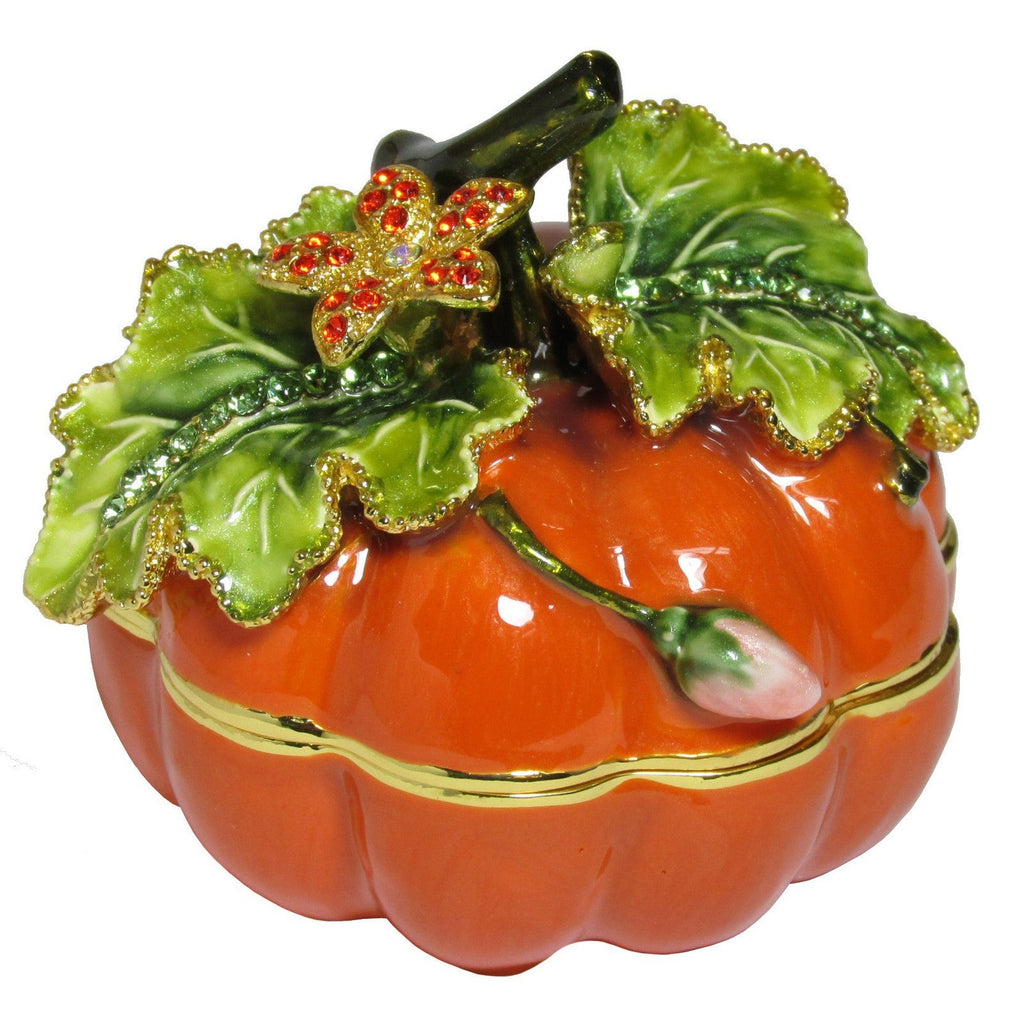 Pumpkin Jeweled Trinket Box with SWAROVSKI Crystals, by RUCINNI