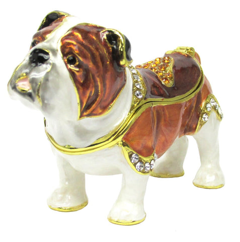 Dog (Bull Dog) Jeweled Trinket Box with SWAROVSKI Crystals, by RUCINNI