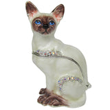 Siamese Cat Jeweled Trinket Box with SWAROVSKI Crystals, by RUCINNI
