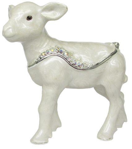 Lamb Jeweled Trinket Box with SWAROVSKI Crystals, by RUCINNI