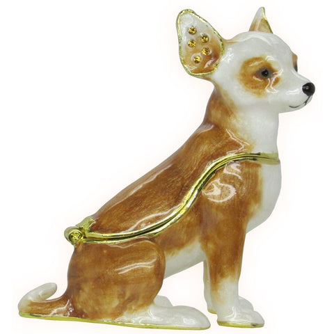 Chihuahua Jeweled Trinket Box with SWAROVSKI Crystals, by RUCINNI