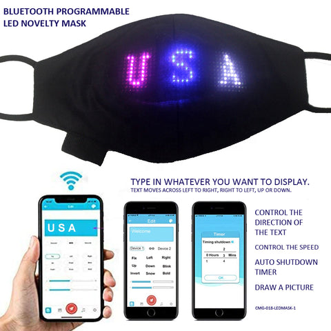 Bluetooth Programmable LED Novelty Mask