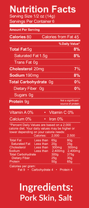 Nutrition Facts for Pork Panko by Bacon's Heir