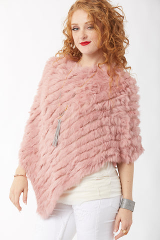 Rabbit Fur Poncho - Dusty Rose