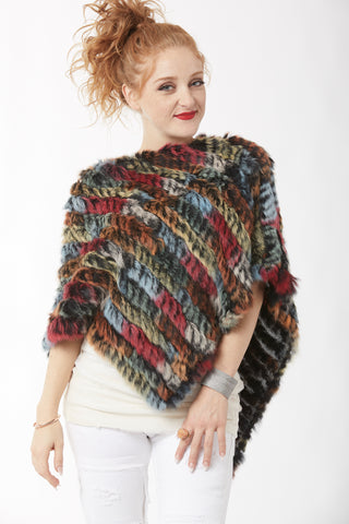 Rabbit Fur Poncho - Multi - Green and Burgundy