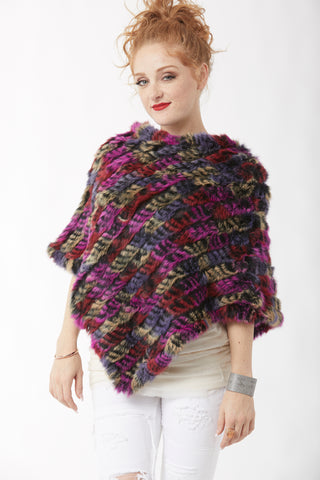 Rabbit Fur Poncho - Magenta and lavender blue