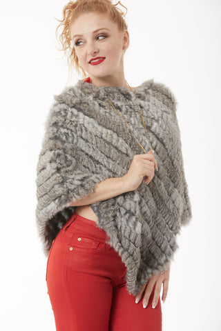 Rabbit Fur Poncho - Multi Grey