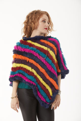 Rabbit Fur Poncho - Rainbow of Colors