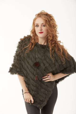 Rabbit Fur Poncho - Charcoal