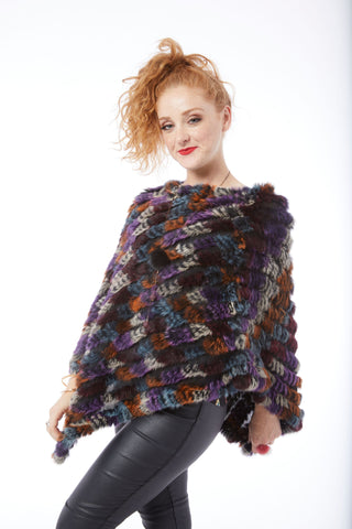 Rabbit Fur Poncho - Multi - Purple, Blue, Cinnamon, Grey