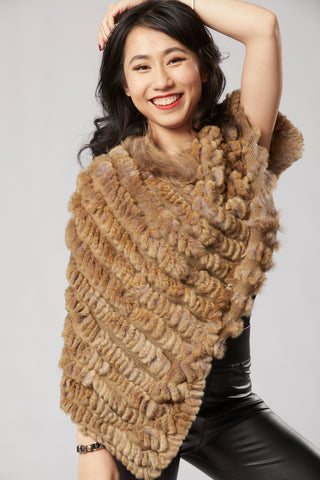 Lilian Long Poncho - Rabbit Fur - Multi Brown