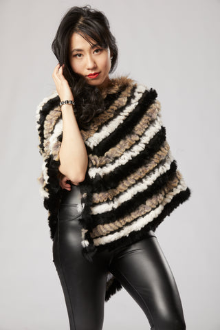 Lilian Long Poncho - Rabbit Fur - Multi Black and Brown