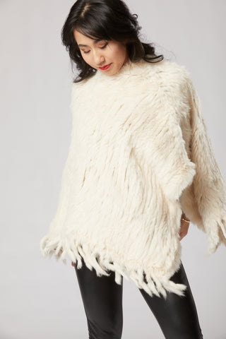 Megan Long Poncho with Fringe - Beige