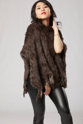 Megan Long Poncho with Fringe - Chocolate