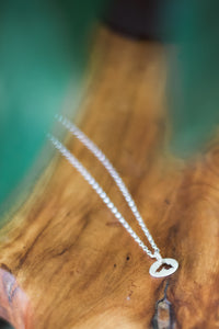 Small Sterling Silver Oval Lake Superior Necklace
