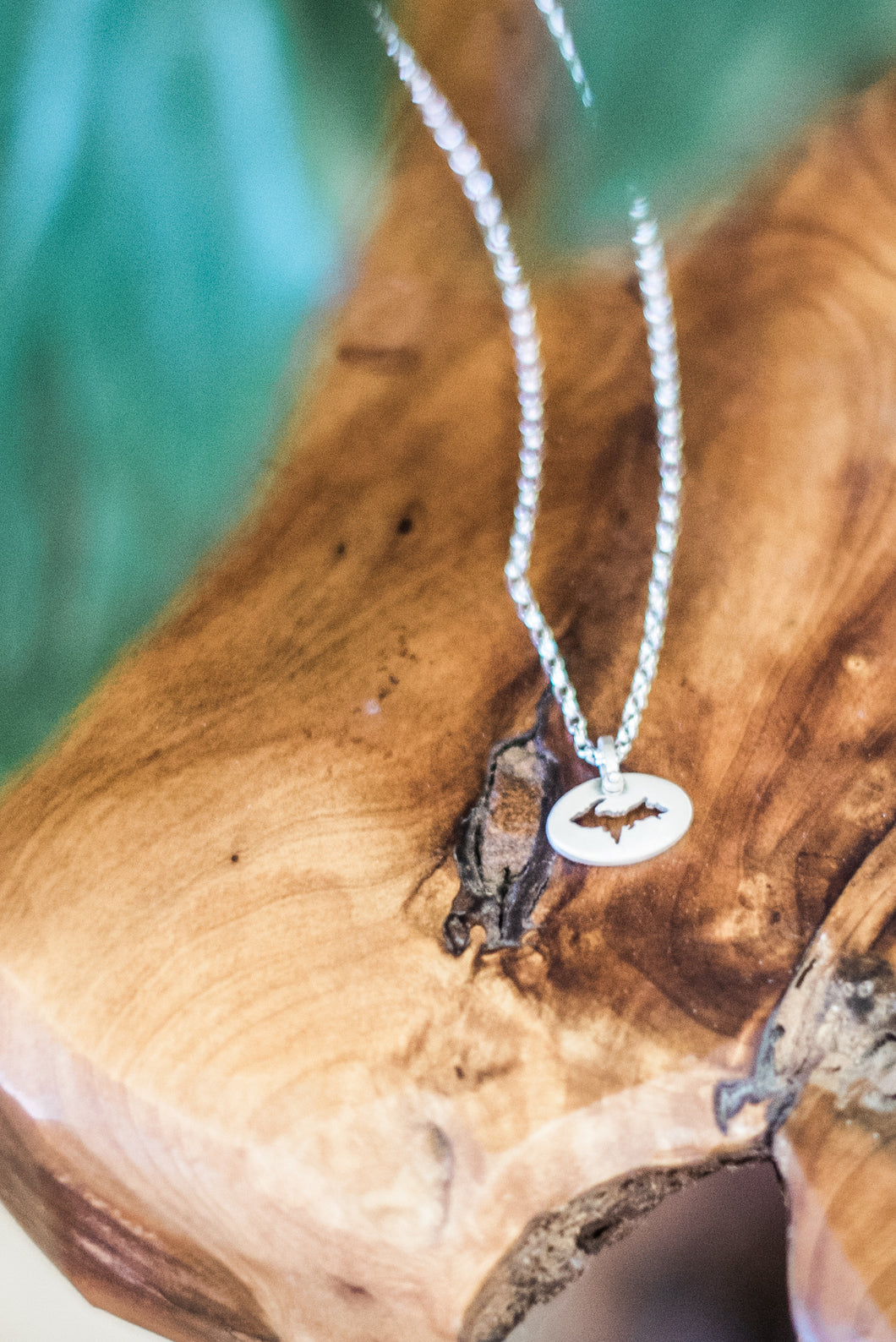 Small Oval Sterling Silver Upper Peninsula Necklace