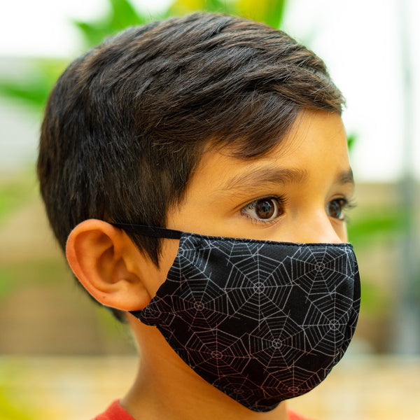 Defender PRO Antibacterial Mask (Halloween Spider Webs) includes 3 N95 Filters - Made in USA