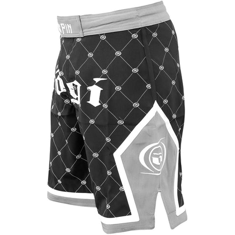 Nogi Kingpin mma fight shorts black and gray Right