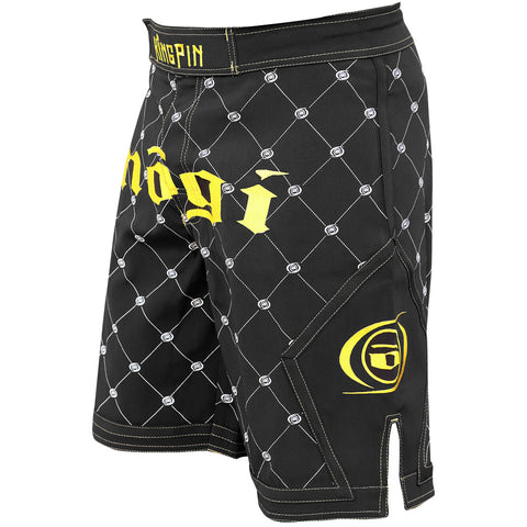 Nogi Kingpin mma fight shorts black and gold Left